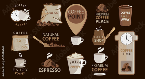 Big Set Of Coffee Emblems Or Stickers With Coffee Illustrations Logotypes Arabica Espresso Latte Big Vector Collection Related Quotes Set Buy This Stock Vector And Explore Similar Vectors At Adobe Stock
