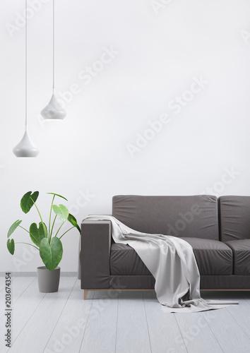 4359150 Modern vintage living room. Brown leather sofa on a ...