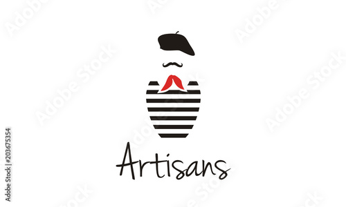 Obraz Artisans France, French Mustache Painter Artist Costume with Beret, Red Scarf Tie, and Black White Striped T-Shirt logo design inspiration - fototapety do salonu