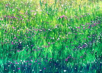 Plakat Watercolor flowers on green grass in sunlight