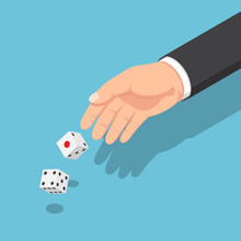Isometric Businessman Hands Throwing The Dice