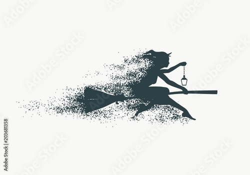 Tablou Canvas Illustration of flying young witch icon composed of particles