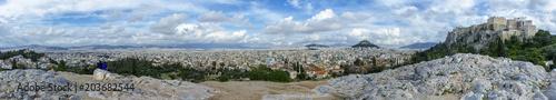 Obraz na płótnie Panoramiczny widok na Ateny, Grecja od Narodowego Obserwatorium w Atenach (po lewej) do Akropolu (po prawej). Punkt widokowy wzgórza Areopagus w dzielnicy Plaka.