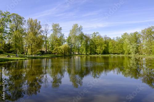 Deurstickers Meer / Vijver Lake in Warsaw Wilanów