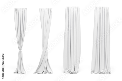 3d curtains on white background Wallpaper Mural