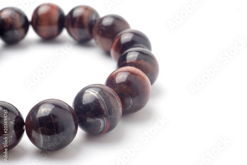 Tiger eye bracelet isolated on white background. Canvas Print