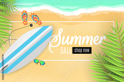 Advertising banner for the summer sale surfboard palm leaves advertising banner for the summer sale surfboard palm leaves beach goggles and sponges voltagebd Choice Image