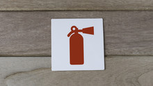 Fire Extiguisher Sign On Wood ...