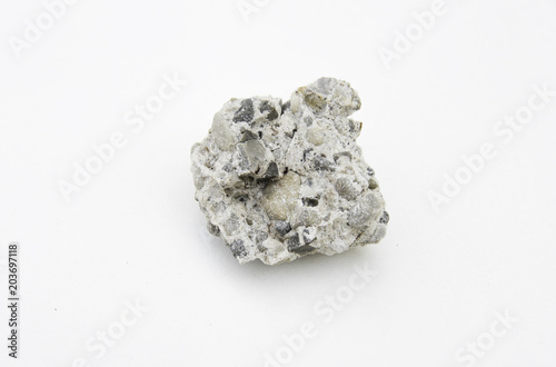 Photo conglomerate rock isolated over white