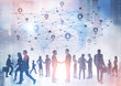canvas print picture - Business people silhouettes, network