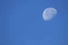 Close Up The Moon And Blue Sky