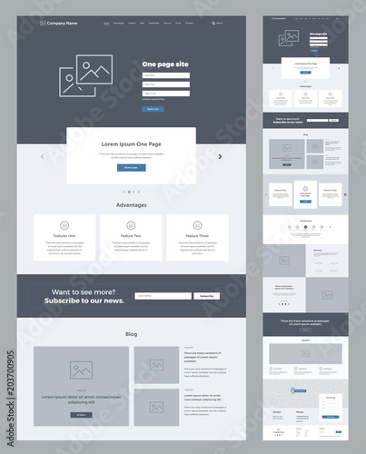 Photo One page website design template for business