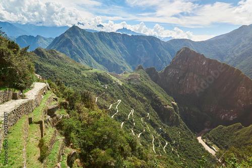 Foto op Canvas Zuid-Amerika land Inca terraces in Machu Picchu
