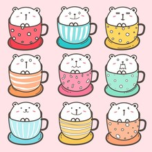 Set Of Cute Bear In The Cup. V...