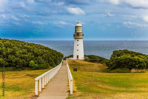 Foto op Aluminium Vuurtoren The white lighthouse