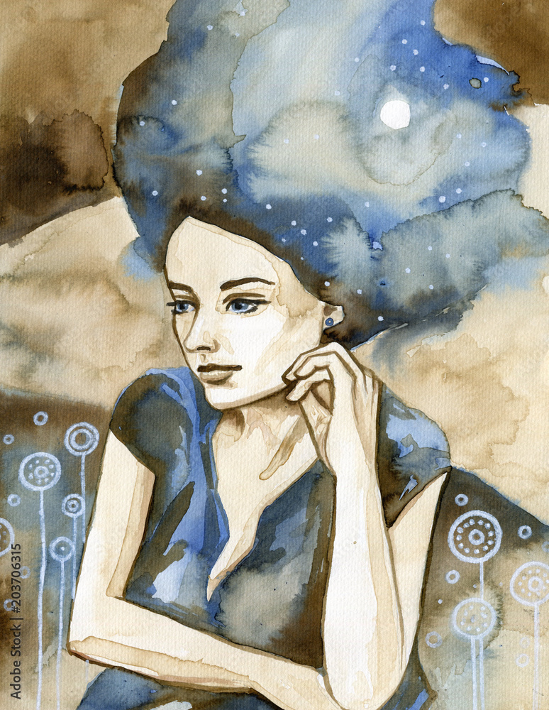 Watercolor portrait of a beautiful woman in blue.