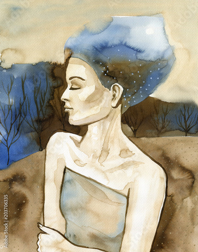 Foto op Aluminium Schilderkunstige Inspiratie Watercolor portrait of a beautiful woman in blue.