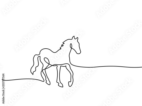 Fototapeta Continuous one line drawing. Horse logo. Black and white vector illustration. Concept for logo, card, banner, poster, flyer obraz
