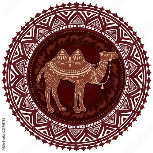 Fotografie, Obraz  Round Ornament Pattern with camel