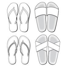 Vector Template For Summer Footwear