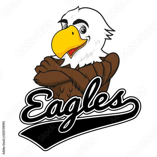 Eagle Mascot with Baseball logo Canvas Print