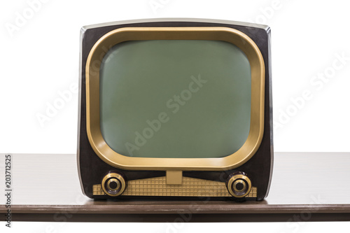 Photo Vintage 1950s television on table isolated on white with clipping path