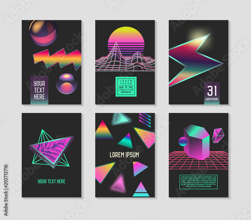 Valokuva  Trendy Abstract Posters Set with Place for your Text and Color Gradients Elements