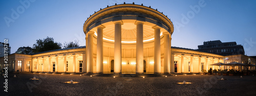 Panorama of Elisenbrunnen in Aachen at blue hour, Germany Canvas Print