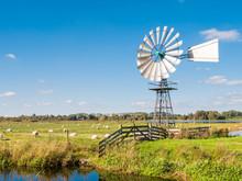 Meadow, Moor And Windmill In Nature Reserve Oude Venen Between Eernewoude En Oudega, Friesland, Netherlands