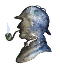 Vintage Silhouette Of Sherlock Holmes With Smoking Pipe And Hat On White Background. Watercolor Hand Drawn Illustration