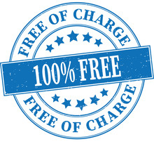 Blue 100% Free Of Charge Grungy Round Rubber Stamp Illustration