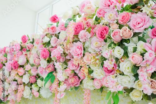 In de dag Candy roze flower background, backdrop wedding decoration, rose pattern, Wall flower, colorful background, fresh rose