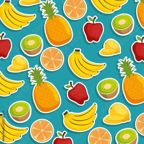 owoców i warzyw grupa wzór wektor ilustracja projektu