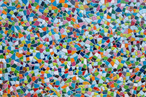 Obraz na płótnie Colorful pastel vivid colour and various geometric shape and size of mosaic tile with random pattern
