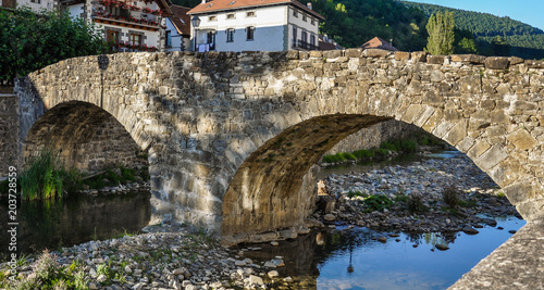 Medieval old bridge, Ochagavía, Navarra, Spain