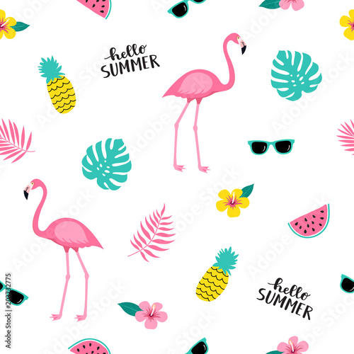 Canvas Prints Flamingo Bird Summer seamless cute colorful pattern with flamingo, pineapple, tropical leaves, watermelon, flowers, sunglasses on white background. Vector illustration