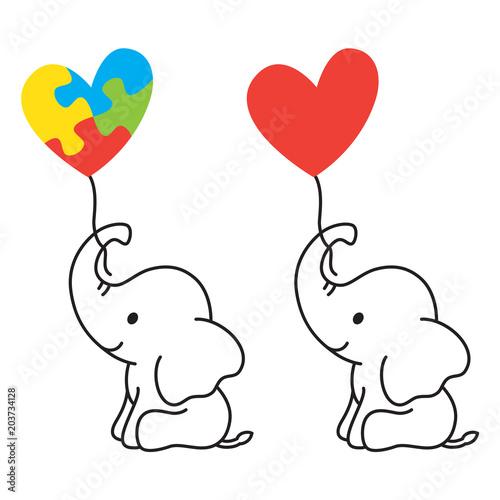 Fototapeta premium Ilustracja wektorowa słonia niemowlęcia wyłożone sztuki, trzymając balon w kształcie serca z symbolem kawałek układanki autyzmu.