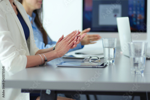 Fototapety, obrazy: Photo of partners clapping hands after business seminar. Professional education, work meeting, presentation