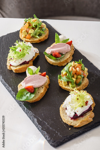Poster Assortiment different kinds of canape