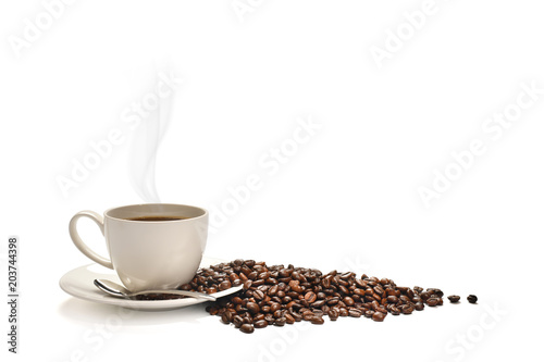 Cup of coffee with smoke and coffee beans isolated on white background