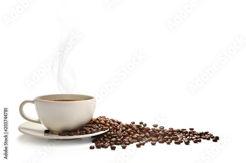 Fotografie, Obraz  Cup of coffee with smoke and coffee beans isolated on white