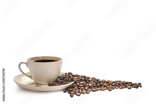 Poster Café en grains Cup of coffee and coffee beans isolated on white background