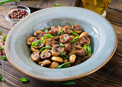Papiers peints Pays d Afrique Baked mushrooms with soy sauce and herbs. Vegan food.