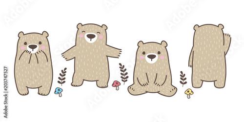 Bear vector logo icon polar bear character cartoon panda teddy mushroom leaf illustration doodle