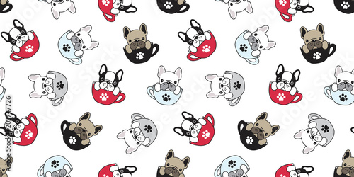 Dog Seamless Pattern French Bulldog Vector Pug Isolated Cup