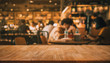 canvas print picture Wood table top with blur of people in coffee shop or (cafe,restaurant )background