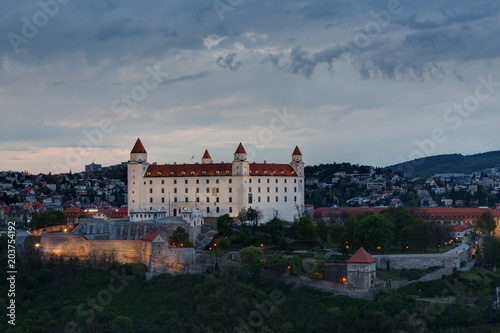 Medieval castle on a hill in Bratislava in sunset, Slovakia Canvas Print