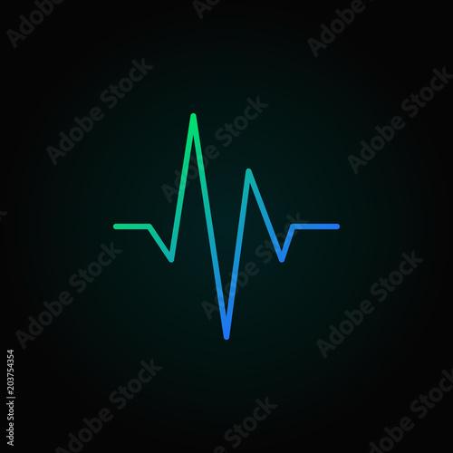 Láminas  Heartbeat blue vector concept line icon or design element