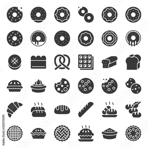 Bread, donut, pie, bakery product, glyph icon set Canvas Print