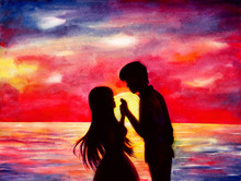 Watercolor Illustration Of The Silhouettes Of Lovers At Sunset.
